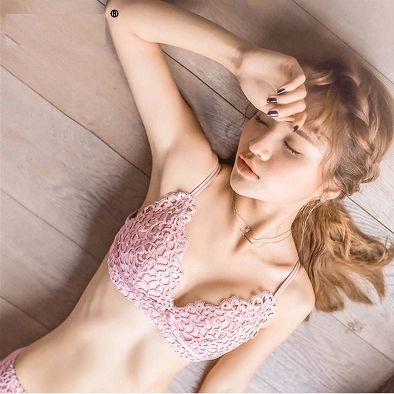 Sexy Embroidery Women bras and Underwear Set